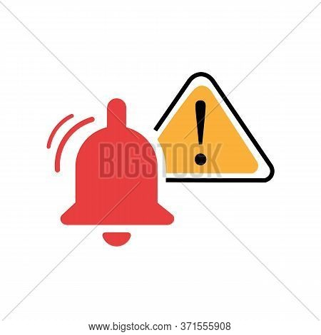 Bell Warning Sign. Caution Icon With Triangle Form. Danger Sign On Isolated Background. Caution Warn