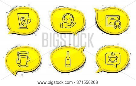 Tea Sign. Diploma Certificate, Save Planet Chat Bubbles. Beer, Coffee And Mint Leaves Line Icons Set