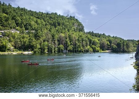 New Paltz, New York - July 11, 2015:  Hotel Guests Of Mohonk Mountain House Boating On Mohonk Lake I