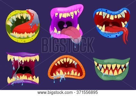 Monsters Mouths. Halloween Scary Monster Teeth And Tongue In Mouth Closeup. Funny Facial Expression,