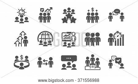 Meeting Icons Set. People Conference, Seminar, Classroom. Team, Work And Business Idea Icons. Discus