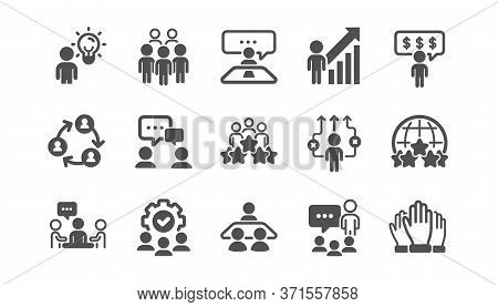 Business People Icons Set. Person, Team Meeting, Job Structure. Group People, Communication, Member