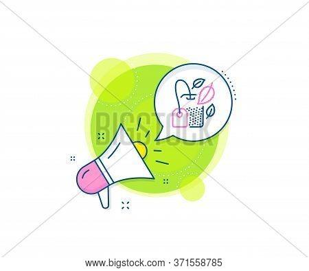 Fresh Herbal Beverage Sign. Megaphone Promotion Complex Icon. Mint Tea Bag Line Icon. Mentha Leaves