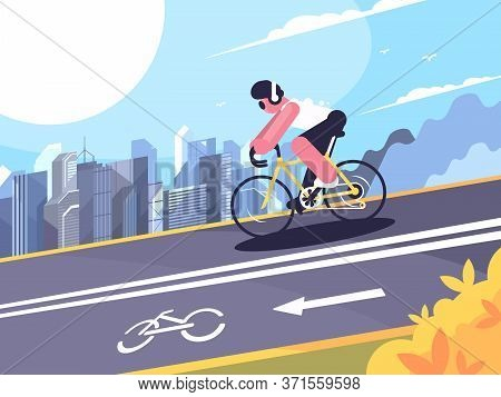 Cyclist Wearing Headphones On Track For Cyclists