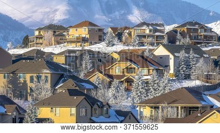 Panorama Homes Of A Mountainside Residential Community With Views Of Wasatch Mountains