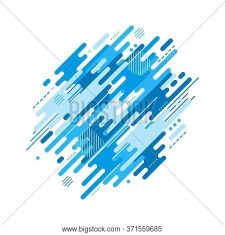 Abstract Flat Dynamic Background Isolated On White. Blue Geometric Motion Shapes. Colorful Pattern F