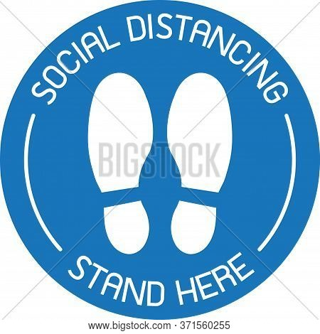 Vector Of Blue Caution Practice Social Distancing Sign And Symbols For People Stand In Designated Ar