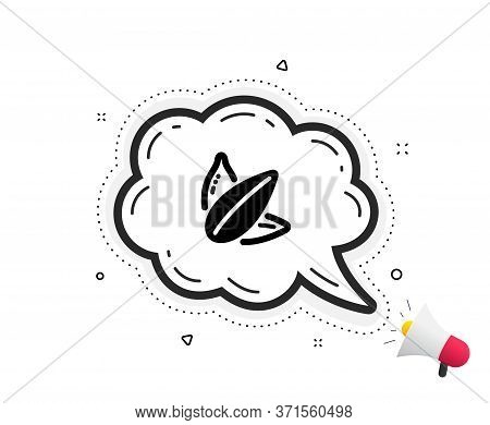Sunflower Seed Icon. Quote Speech Bubble. Tasty Seeds Sign. Vegan Food Symbol. Quotation Marks. Clas