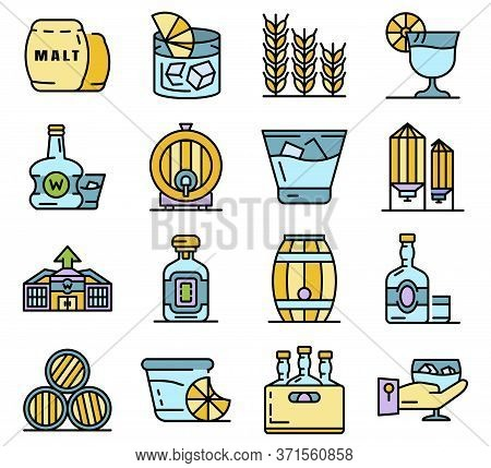 Whisky Icon Set. Outline Set Of Whisky Vector Icons Thin Line Color Flat Isolated On White