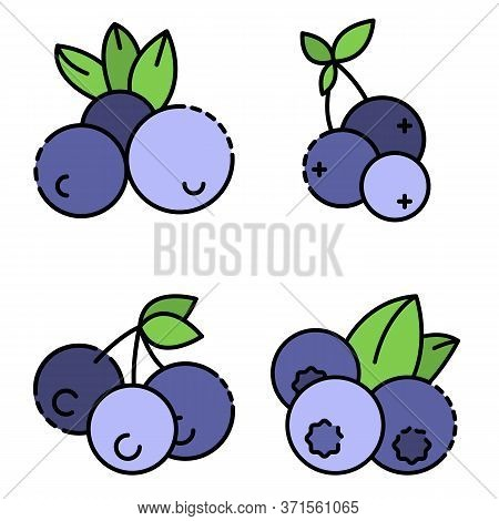 Bilberry Icon Set. Outline Set Of Bilberry Vector Icons Thin Line Color Flat Isolated On White
