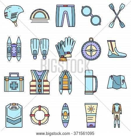 Rafting Icon Set. Outline Set Of Rafting Vector Icons Thin Line Color Flat Isolated On White