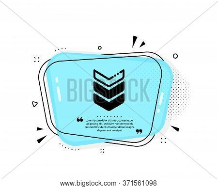 Shoulder Strap Icon. Quote Speech Bubble. Army Reward Sign. Best Rank Symbol. Quotation Marks. Class