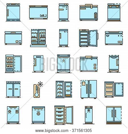 Freezer Icon Set. Outline Set Of Freezer Vector Icons Thin Line Color Flat Isolated On White