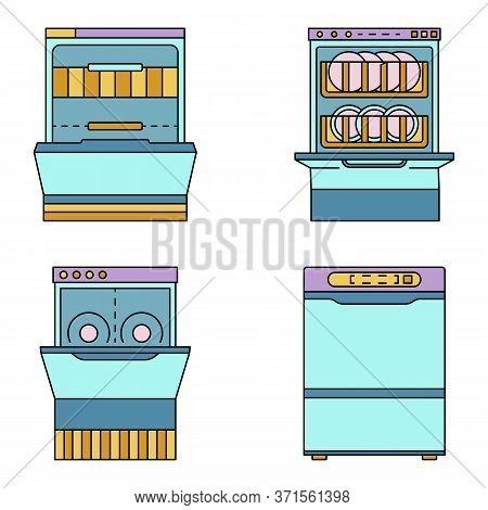 Dishwasher Machine Icon Set. Outline Set Of Dishwasher Machine Vector Icons Thin Line Color Flat Iso