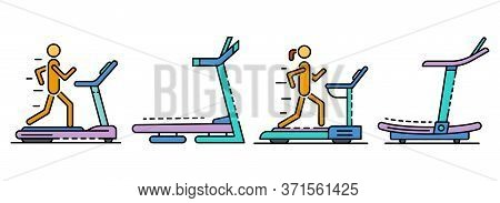 Treadmill Icon Set. Outline Set Of Treadmill Vector Icons Thin Line Color Flat Isolated On White