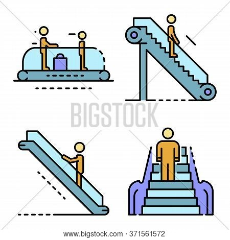 Escalator Icon Set. Outline Set Of Escalator Vector Icons Thin Line Color Flat Isolated On White