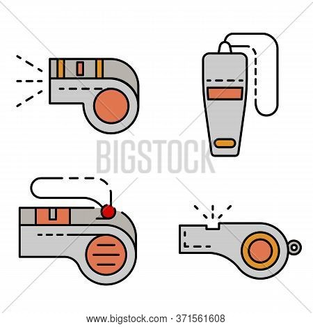Whistle Icon Set. Outline Set Of Whistle Vector Icons Thin Line Color Flat Isolated On White