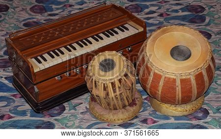 Indian Traditional Classical Musical Instruments Which Consists Of Tabla And Harmonium