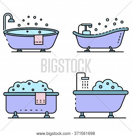 Bathtub Icon Set. Outline Set Of Bathtub Vector Icons Thin Line Color Flat Isolated On White