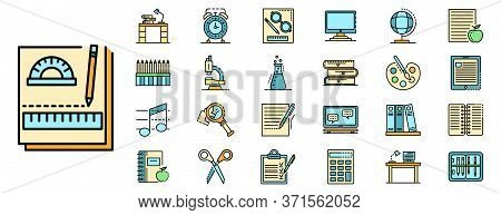 Homework Icon Set. Outline Set Of Homework Vector Icons Thin Line Color Flat Isolated On White
