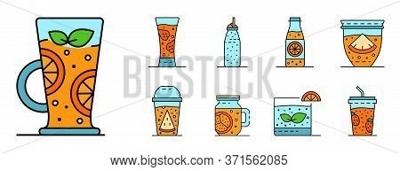 Smoothie Icon Set. Outline Set Of Smoothie Vector Icons Thin Line Color Flat Isolated On White