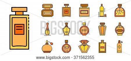 Fragrance Bottles Icons Set. Outline Set Of Fragrance Bottles Vector Icons Thin Line Color Flat Isol