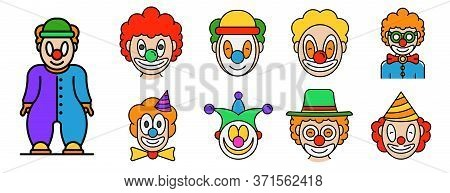 Clown Icons Set. Outline Set Of Clown Vector Icons Thin Line Color Flat Isolated On White
