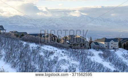 Panorama Houses On Snowy Mountain Overlooking Wasatch Mountains And Residential Valley