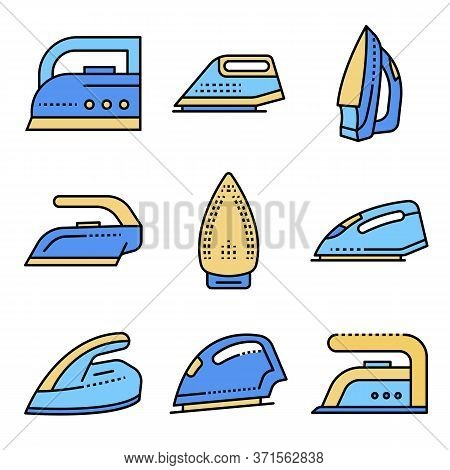 Smoothing-iron Icons Set. Outline Set Of Smoothing-iron Vector Icons Thin Line Color Flat Isolated O