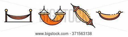 Hammock Icons Set. Outline Set Of Hammock Vector Icons Thin Line Color Flat Isolated On White