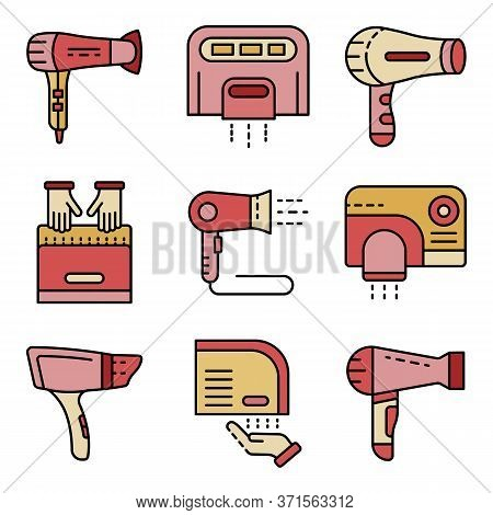 Dryer Icons Set. Outline Set Of Dryer Vector Icons Thin Line Color Flat Isolated On White