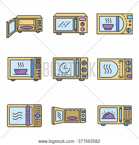 Microwave Icons Set. Outline Set Of Microwave Vector Icons Thin Line Color Flat Isolated On White