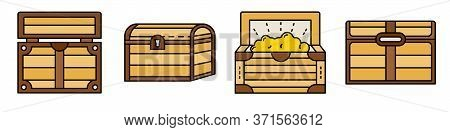Dower Chest Icons Set. Outline Set Of Dower Chest Vector Icons Thin Line Color Flat Isolated On Whit