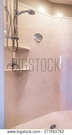 Vertical Shower Area With Stainless Steel Shower Head Tile Wall Curtain Mirror And Racks
