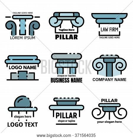 Pillar Icons Set. Outline Set Of Pillar Vector Icons Thin Line Color Flat Isolated On White