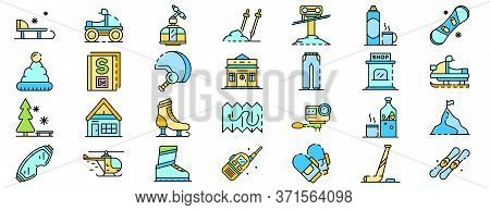 Ski Resort Icons Set. Outline Set Of Ski Resort Vector Icons Thin Line Color Flat Isolated On White