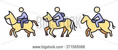 Horseback Riding Icons Set. Outline Set Of Horseback Riding Vector Icons Thin Line Color Flat Isolat