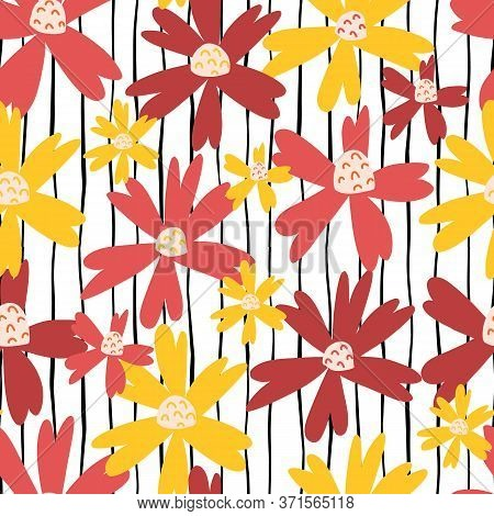 Sommer Flowers Seamless Repeating Vector Pattern. Red, Pink, Yellow Florals On A Black And White Str