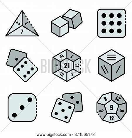Dice Icons Set. Outline Set Of Dice Vector Icons Thin Line Color Flat Isolated On White