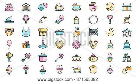 Baby Items Icons Set. Outline Set Of Baby Items Vector Icons Thin Line Color Flat Isolated On White