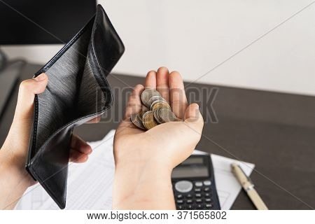 Poor Asian Man Hand Open Empty Wallet And Holding Coins Looking For Money Having Problem Bankrupt Br