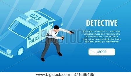 Isometric Police Horizontal Banner With More Button Editable Text And Patrol Car With Character Of O
