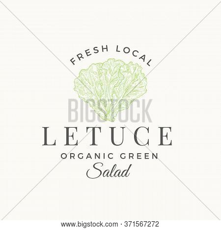 Fresh Local Lettuce Salad Abstract Vector Sign, Symbol Or Logo Template. Premium Vegetable Or Green