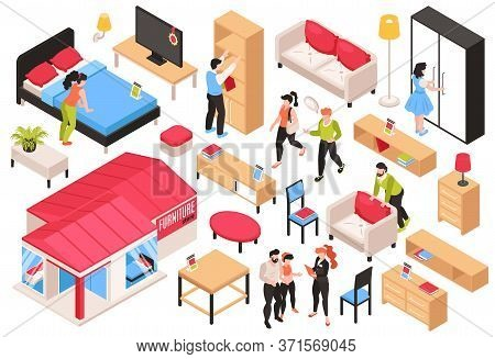 Furniture Store Isometric Set Of Buyers Sellers Designers And Wide Choice Of Furniture Samples Isola