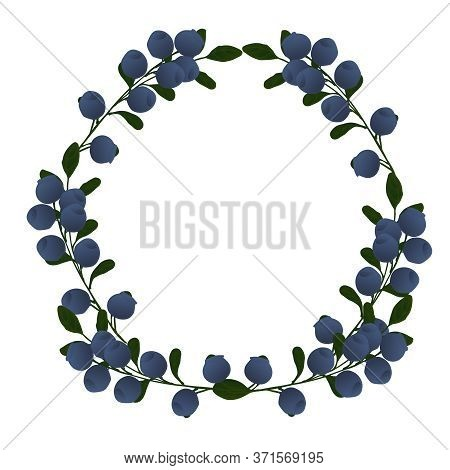 Pattern With Blue Blueberries On Branches In A Wreath. A Wreath With Blue Blueberry Berries On A Blu