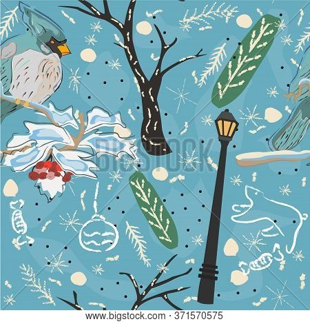 Seamless Pattern With Cute Cardinal. Scandinavian Hand Drawn Style. Vector Illustration