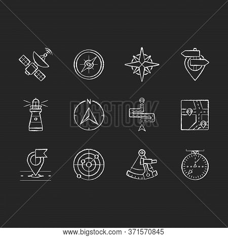 Navigation Chalk White Icons Set On Black Background. Land, Marine And Aeronautical Navigating. Diff