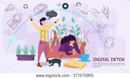 Digital Detoxification, Banner Concept For Web And Mobile Sites, A Man Protects A Girl Lying On The