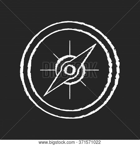 Compass Chalk White Icon On Black Background. Marine And Land Navigation, Direction Guide Tool. Trav