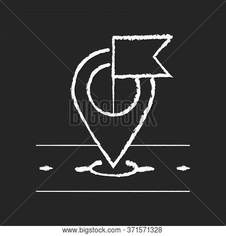 Destination Marker Chalk White Icon On Black Background. Global Positioning And Tracking System, Nav